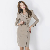 Dress Autumn of 2019 Blue, Khaki S,M,L,XL Mid length dress singleton  Long sleeves commute tailored collar High waist Solid color double-breasted Pencil skirt Others 18-24 years old Korean version Lace up, button