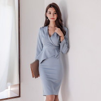 Dress Autumn of 2018 wathet S,M,L,XL Mid length dress singleton  Long sleeves commute V-neck High waist Solid color zipper Pencil skirt Others 18-24 years old Korean version Ruffle, stitching, asymmetric, zipper