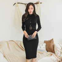 Dress Autumn of 2018 Average size Mid length dress singleton  Long sleeves commute Crew neck High waist Solid color Socket Pencil skirt Others 18-24 years old Korean version
