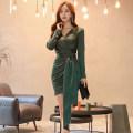 Dress Autumn of 2019 green S,M,L,XL Short skirt singleton  Long sleeves commute V-neck Others 18-24 years old Korean version