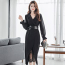 Dress Autumn of 2019 S,M,L,XL Mid length dress Two piece set Long sleeves commute tailored collar High waist Solid color Ruffle Skirt Others 18-24 years old Korean version Stitching, zipper, lace