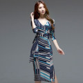 Dress Autumn of 2019 blue S,M,L,XL Mid length dress singleton  three quarter sleeve commute V-neck High waist other zipper Pencil skirt Others 18-24 years old Korean version Bowknot, lace up, stitching, zipper, printing
