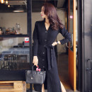 Dress Winter of 2018 Black, Khaki Average size Mid length dress singleton  Long sleeves commute V-neck High waist Solid color Single breasted Pencil skirt Others 18-24 years old Korean version Lace up, panel, button