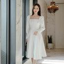 Dress Autumn 2020 white S,M,L,XL Mid length dress singleton  Long sleeves commute square neck High waist Solid color zipper A-line skirt puff sleeve 18-24 years old Korean version Panel, button, zipper