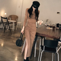 Dress Autumn 2020 brown S,M,L,XL Mid length dress singleton  Long sleeves commute Crew neck High waist Solid color Socket Pencil skirt Others 18-24 years old Korean version fold