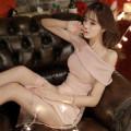 Dress Spring 2020 Pink S,M,L,XL Mid length dress singleton  Short sleeve commute One word collar High waist Solid color zipper Pencil skirt camisole 18-24 years old Korean version Backless, pleated, stitched, zipper