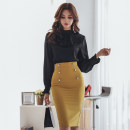 Dress Autumn of 2018 Picture color S,M,L,XL Mid length dress singleton  Long sleeves commute stand collar High waist Solid color zipper Pencil skirt Others 18-24 years old Korean version Ruffles, stitching, buttons, zippers