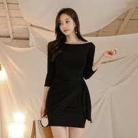 Dress Autumn of 2019 black S,M,L,XL Short skirt singleton  Short sleeve commute One word collar High waist Solid color Socket Pencil skirt Others 18-24 years old Korean version Fold, lace up
