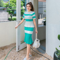 Dress Summer of 2019 Mint green [suit skirt] Average size Mid length dress Two piece set Short sleeve commute Crew neck High waist Solid color Socket Ruffle Skirt Others 18-24 years old Korean version Ruffles, hollowed out, stitched