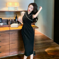 Dress Summer 2021 black S,M,L Mid length dress singleton  Sleeveless commute V-neck High waist Solid color zipper One pace skirt routine 18-24 years old Korean version Panel, zipper