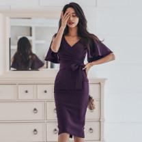 Dress Summer of 2019 Dark purple, pink S,M,L,XL Mid length dress singleton  Short sleeve commute V-neck High waist Solid color zipper Pencil skirt Lotus leaf sleeve Others 18-24 years old Korean version Bow, fold, lace, zipper