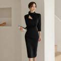 Dress Spring 2021 black S,M,L,XL Mid length dress singleton  three quarter sleeve commute Crew neck High waist Solid color zipper One pace skirt routine 25-29 years old Korean version Hollowed out, stitched, button, zipper