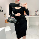 Dress Autumn 2020 black Average size Mid length dress singleton  Long sleeves commute Crew neck High waist Solid color Socket One pace skirt routine 18-24 years old Korean version Hollowed out, stitched, threaded, button