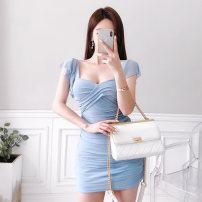 Dress Summer 2020 sky blue S,M,L,XL Short skirt singleton  Sleeveless commute V-neck High waist Solid color zipper One pace skirt Lotus leaf sleeve 18-24 years old Korean version Open back, fold, mesh, zipper