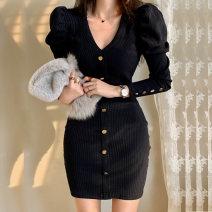 Dress Winter of 2019 Black, Khaki S,M,L,XL Short skirt singleton  Long sleeves commute V-neck High waist Solid color Socket Pencil skirt Others 18-24 years old Korean version Stitching, thread, button