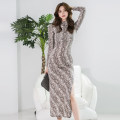 Dress Autumn of 2019 serpentine S,M,L,XL longuette singleton  Long sleeves commute stand collar High waist other zipper One pace skirt Others 18-24 years old Korean version Pleated, zipper