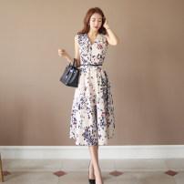 Dress Summer of 2019 Apricot [belt] S,M,L,XL Mid length dress singleton  Sleeveless commute V-neck High waist Decor zipper A-line skirt Others 18-24 years old Korean version Zipper, print