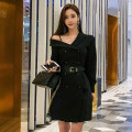Dress Autumn of 2019 Black Belt S,M,L,XL Short skirt singleton  Long sleeves commute V-neck High waist Solid color double-breasted Pencil skirt Others 18-24 years old Korean version Button, button