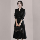 Dress Winter 2020 Black Belt S,M,L,XL Mid length dress singleton  Long sleeves commute tailored collar High waist Solid color other Big swing routine 25-29 years old Type A Korean version Lotus leaf edge