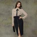 Fashion suit Autumn of 2019 S,M,L,XL Black [single skirt], deep Khaki [single shirt] 18-25 years old