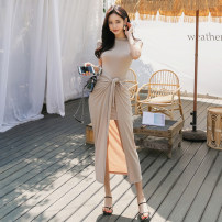 Dress Summer of 2019 Black, apricot S,M,L,XL longuette Two piece set Short sleeve commute One word collar High waist Solid color Socket Pencil skirt Others 18-24 years old Korean version Asymmetric, bandage