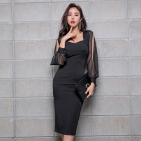 Dress Winter of 2018 black S,M,L,XL Mid length dress singleton  Long sleeves commute V-neck High waist Solid color zipper Pencil skirt Others 18-24 years old Korean version Panel, button, zipper