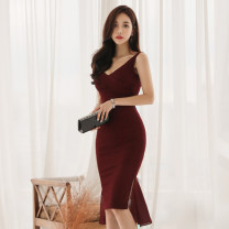 Dress Summer of 2019 claret S,M,L,XL Mid length dress singleton  Sleeveless commute V-neck High waist Solid color zipper Pencil skirt Others 18-24 years old Korean version Ruffle, open back, stitching, asymmetric, zipper