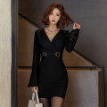 Dress Autumn of 2019 black S,M,L,XL Short skirt singleton  Long sleeves commute V-neck High waist Solid color zipper Pencil skirt pagoda sleeve Others 18-24 years old Korean version Stitching, stereo decoration, zipper