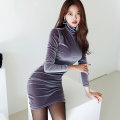 Dress Winter 2020 Lake blue, purple, coffee S,M,L,XL Short skirt singleton  Long sleeves commute High collar High waist Solid color zipper One pace skirt routine 18-24 years old Korean version Pleated, stitched, asymmetrical, zipper