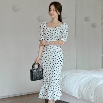 Dress Summer 2020 white S,M,L,XL longuette singleton  Short sleeve commute square neck High waist Dot zipper Ruffle Skirt puff sleeve 18-24 years old Korean version Ruffle, open back, stitching, zipper