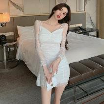 Dress Spring 2021 white S,M,L Short skirt singleton  Long sleeves commute V-neck High waist Solid color zipper One pace skirt routine 18-24 years old Korean version Zipper, lace