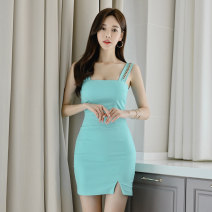 Dress Summer 2020 Lake blue S,M,L,XL Short skirt singleton  Sleeveless commute square neck Solid color One pace skirt other 18-24 years old Korean version