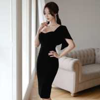 Dress Spring 2021 Black, red S,M,L,XL Mid length dress singleton  Short sleeve commute V-neck High waist Solid color zipper Pencil skirt Lotus leaf sleeve Breast wrapping 18-24 years old Korean version Ruffle, open back, fold, stitching, zipper