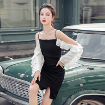 Dress Autumn 2020 black S,M,L,XL Middle-skirt singleton  Long sleeves commute One word collar High waist Solid color zipper One pace skirt other camisole 18-24 years old Korean version other other