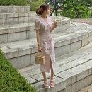 Dress Summer 2020 Black, pink S,M,L,XL Mid length dress singleton  Short sleeve commute V-neck High waist Solid color zipper One pace skirt puff sleeve 18-24 years old Korean version Panel, button, zipper