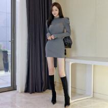 Dress Winter 2020 grey Average size Short skirt singleton  Long sleeves commute Half high collar High waist Solid color Socket One pace skirt puff sleeve 18-24 years old Korean version thread