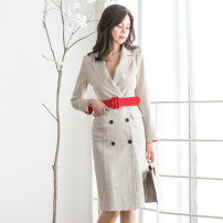 Dress Autumn of 2019 S,M,L,XL Mid length dress singleton  Long sleeves commute tailored collar High waist Solid color double-breasted Pencil skirt Others 18-24 years old Korean version Pockets, panels, buttons