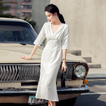 Dress Spring 2021 white S,M,L,XL longuette singleton  three quarter sleeve commute V-neck High waist Solid color zipper Ruffle Skirt routine 25-29 years old Korean version Ruffles, stitching, buttons, zippers
