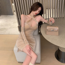Dress Winter 2020 Black, apricot S,M,L Short skirt singleton  Sleeveless commute V-neck High waist Solid color zipper One pace skirt routine Hanging neck style 25-29 years old Korean version Bowknot, open back, lace up, stitching