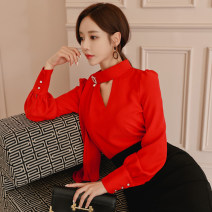 shirt Red [single shirt] S,M,L,XL Winter of 2018 other 31% (inclusive) - 50% (inclusive) Long sleeves commute Regular V-neck Single row two buttons bishop sleeve Solid color 18-24 years old Self cultivation Korean version Lace up, stitching, zipper, tridimensional decoration, buttons