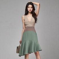 Dress Summer 2020 Picture color S,M,L,XL Mid length dress singleton  Sleeveless commute V-neck High waist other zipper Ruffle Skirt routine Others 18-24 years old Korean version Ruffle, stitching, asymmetric, zipper