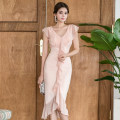Dress Summer of 2019 Pink S,M,L,XL Mid length dress singleton  Short sleeve commute Crew neck High waist Solid color zipper Ruffle Skirt Others 18-24 years old Korean version Ruffle, stitching, zipper