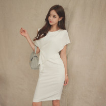 Dress Summer 2017 white S,M,L Middle-skirt singleton  Sleeveless commute Crew neck High waist Solid color zipper Pencil skirt Others 18-24 years old Korean version Pleats, stitches, zippers