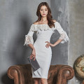 Dress Spring of 2018 white S,M,L,XL Mid length dress singleton  three quarter sleeve commute One word collar High waist Solid color zipper Pencil skirt Others 18-24 years old Korean version Bowknot, open back, lace, stitching, zipper, lace