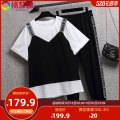 Women's large Korean version routine trousers Summer 2021 Two piece set commute Long sleeve YB12153AB Condom Crew neck moderate easy 30-34 years old nylon Love Mengna Stereoscopic cutting routine 51% (inclusive) - 70% (inclusive) black
