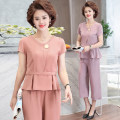 Middle aged and old women's wear Summer 2021 XL (90-110 kg recommended), 2XL (110-130 kg recommended), 3XL (130-145 kg recommended), 4XL (145-165 kg recommended) fashion suit Self cultivation Two piece set Solid color 40-49 years old Socket thin Crew neck routine Others, polyester 96% and above