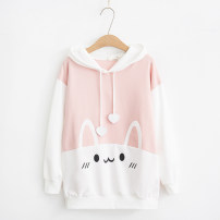 Sweater / sweater Autumn of 2018 M, L Long sleeves routine Socket singleton  routine Hood easy Sweet routine Color matching Under 17 51% (inclusive) - 70% (inclusive) cotton FBN910-1 college
