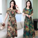 Dress Summer 2021 Mid length dress singleton  Short sleeve commute Crew neck Loose waist Decor Big swing Others Type A Other / other More than 95% cotton