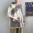 T-shirt Youth fashion White, gray, yellow thin M. L, XL, 2XL, 3XL, 4XL, XS plus small, s Others elbow sleeve Hood easy Other leisure summer teenagers routine tide 2021 Geometric pattern printing cotton No iron treatment
