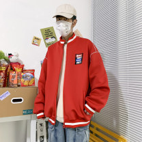 Jacket Other / other Youth fashion White, red S. M, l, XL, 2XL, 3XL, XS plus small routine easy Other leisure spring Long sleeves Wear out stand collar Basic public youth routine Zipper placket 2021 Rib hem Closing sleeve Solid color polyester fiber other Side seam pocket
